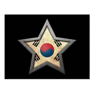 Estrella surcoreana de la bandera en negro tarjetas postales