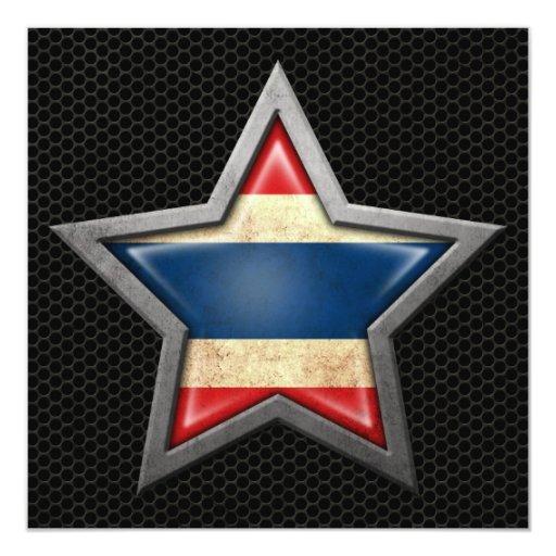 """Estrella tailandesa de la bandera con el efecto de invitación 5.25"""" x 5.25"""""""