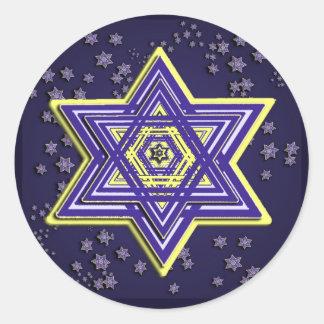Estrella tejida de los pegatinas de David Pegatina Redonda