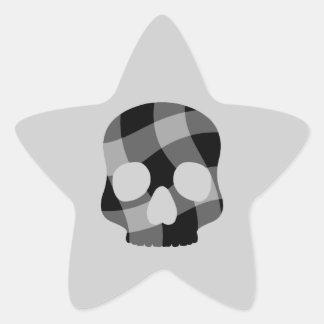 Estrella torcida punky del cráneo de la guinga pegatina en forma de estrella