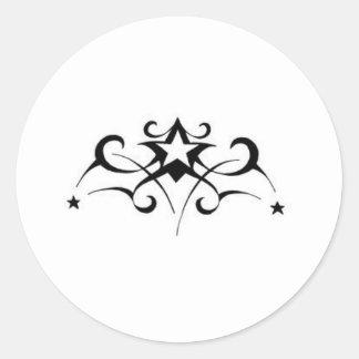 Estrella tribal pegatina redonda