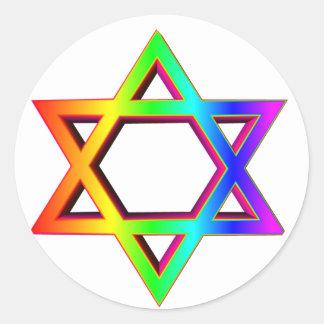 estrella tridimensional del arco iris de David Pegatinas Redondas