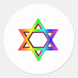 estrella tridimensional del arco iris de David Pegatina Redonda