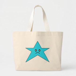 Estrella triste azul bolsa tela grande