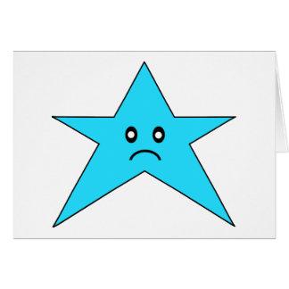 Estrella triste azul tarjeta de felicitación