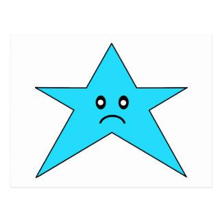 Estrella triste azul postales
