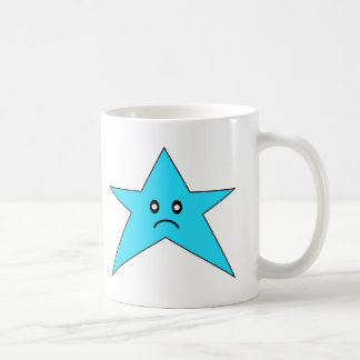 Estrella triste azul taza básica blanca