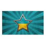 Estrella ucraniana de la bandera con los rayos de  tarjeta de visita