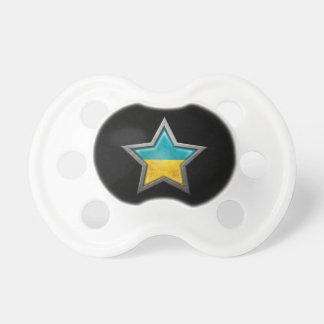 Estrella ucraniana de la bandera en negro chupetes de bebé