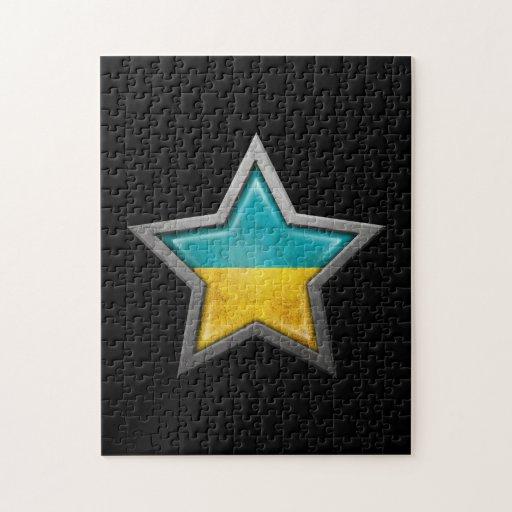 Estrella ucraniana de la bandera en negro rompecabeza