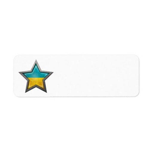 Estrella ucraniana de la bandera etiquetas de remite