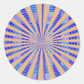 Estrella única del oro pegatina redonda