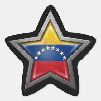 Estrella venezolana de la bandera en negro calcomanías forma de estrella personalizadas