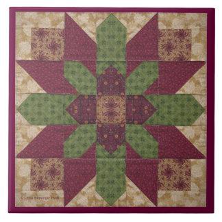 Estrella verde acolchada de Borgoña Azulejo Cuadrado Grande