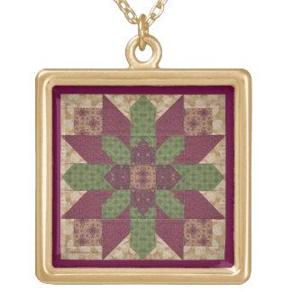 Estrella verde acolchada de Borgoña Colgante Cuadrado