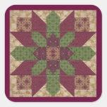 Estrella verde acolchada de Borgoña Calcomanias Cuadradas