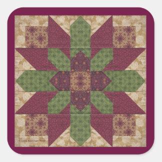 Estrella verde acolchada de Borgoña Calcomanías Cuadradas