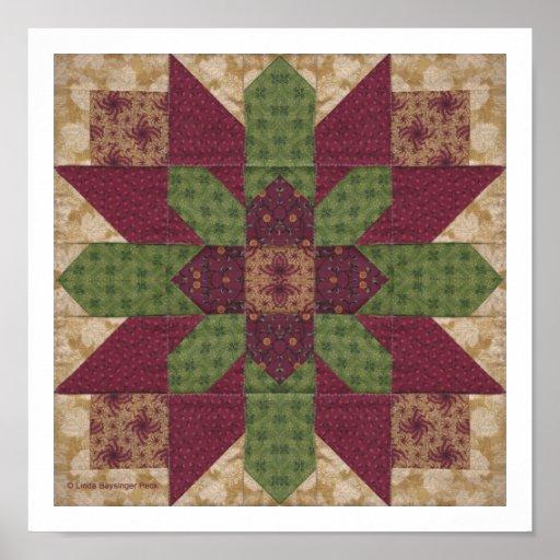 Estrella verde acolchada de Borgoña Poster