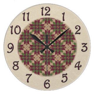 Estrella verde acolchada de Borgoña Reloj Redondo Grande