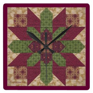 Estrella verde acolchada de Borgoña Reloj Cuadrado