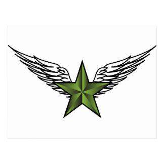 Estrella verde con las alas postal