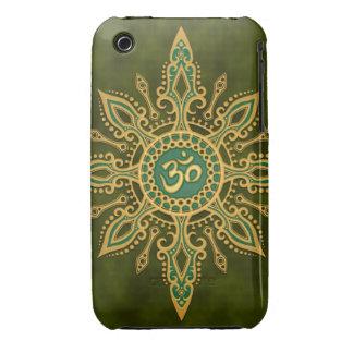 Estrella verde de oro de Aum iPhone 3 Cárcasas