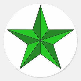 Estrella verde en círculo pegatina redonda