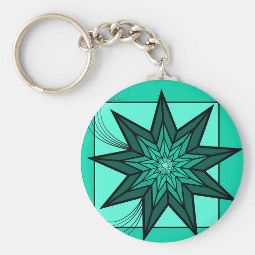 Estrella verde llaveros