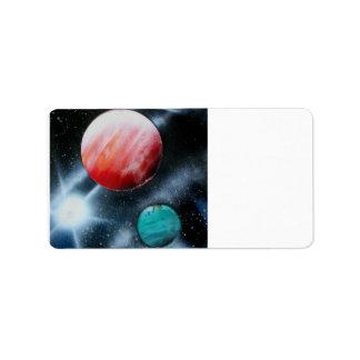Estrella verde roja de los planetas y del blanco s etiquetas de dirección