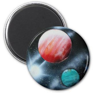 Estrella verde roja de los planetas y del blanco s imanes para frigoríficos