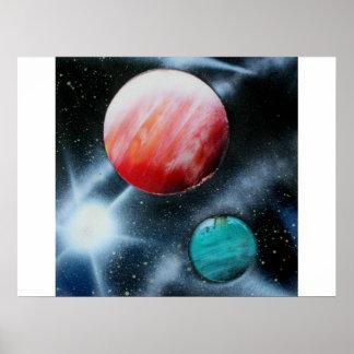 Estrella verde roja de los planetas y del blanco s posters