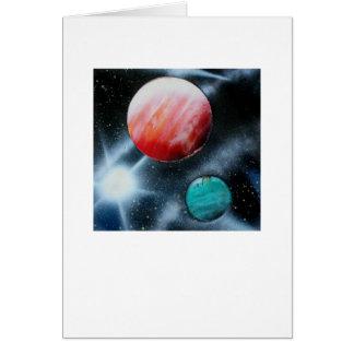 Estrella verde roja de los planetas y del blanco s tarjeton