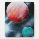 Estrella verde roja de los planetas y del blanco alfombrilla de ratón