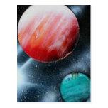 Estrella verde roja de los planetas y del blanco postal