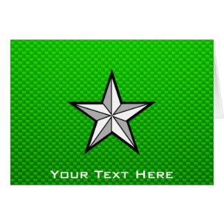 Estrella verde tarjeta de felicitación