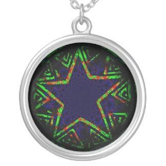 estrella verde y azul hipnótica colgante redondo
