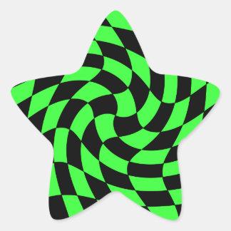 Estrella verde y negra de neón punky linda pegatina en forma de estrella