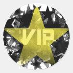Estrella VIP del oro Pegatina Redonda
