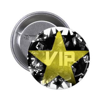Estrella VIP del oro Pin Redondo De 2 Pulgadas
