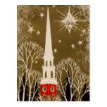 Estrella y aguja del navidad en el oro postales