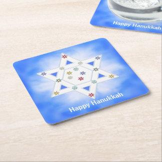 Estrella y copos de nieve de Jánuca azules Posavasos De Cartón Cuadrado
