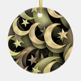 Estrella y creciente de oro adorno de navidad