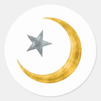Estrella y creciente etiquetas redondas