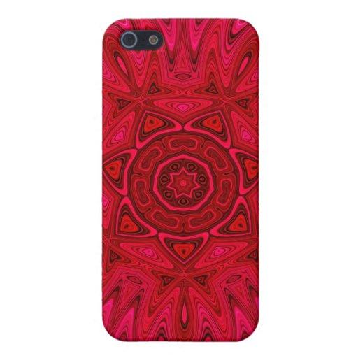 Estrella y mandala rojas de Sun iPhone 5 Carcasa