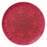 Estrella y mandala rojas de Sun Plato Para Fiesta