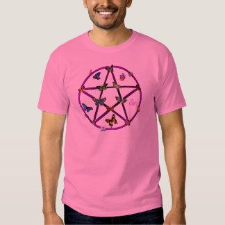 Estrella y mariposas de Wiccan Camisas