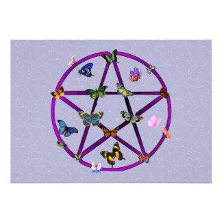 Estrella y mariposas de Wiccan Invitacion Personal