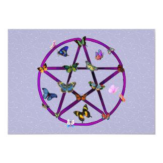 """Estrella y mariposas de Wiccan Invitación 5"""" X 7"""""""