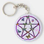 Estrella y mariposas de Wiccan Llaveros