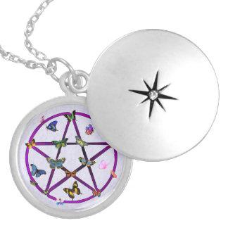 Estrella y mariposas de Wiccan Medallón